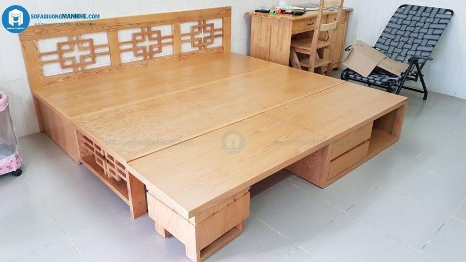 Mẫu ghế sofa giường kết hợp bộ bàn trà sản xuất tại xưởng Mạnh Hệ
